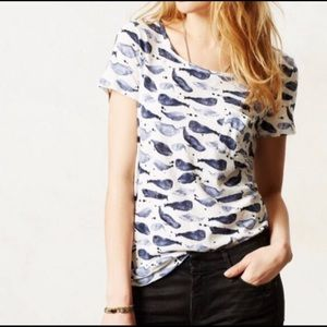 Anthropologie Postmark Watercolor Whale Tee Size S